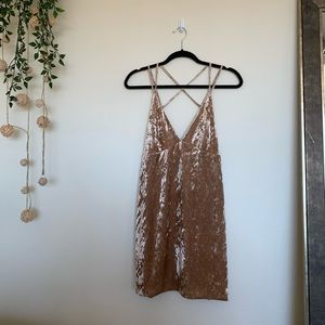 Champagne Velvet Mini Dress With Straps
